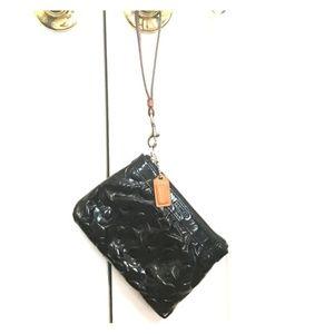 100% Authentic COACH black patent leather wristlet